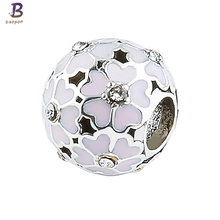 BAOPON 5 PCS/LOT Sliver plated Crystal Charms With Nice Murano pandora Beads Fit original DIY Charm Bracelets Jewelry