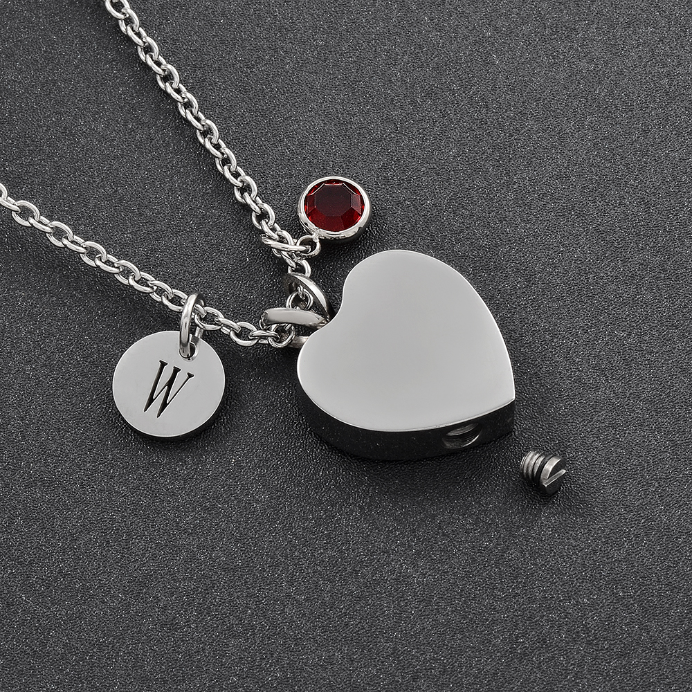 IJD8004 DIY Charm Necklace for Women,Stainless Steel Paw Print Heart Pendant Memorial Urn Keepsake CREMATION JEWELRY for Pet Ash