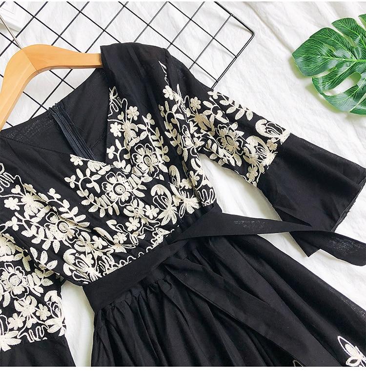 2019 Spring Summer V-neck Embroidery Dress Flare Sleeves Bohemian Dress Belted Ethnic Loose Vintage Dress 56