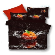 Home Textiles 100% Cotton 3D Bedclothes 4pcs Bedding Sets  King Or Queen Orange Fruit