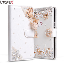 "Luxury Rhinestone Cases For LG Optimus G2 mini D620 D410 D618 4.7"" Wallet PU Leather Cover Filp Stand Bling Diamond Phone Bags(China)"
