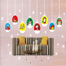 Christmas Wall Sticker Decorations Bedroom Home Decor Hanging Xmas Balls Ornaments Store Window Stickers ornamentos natalinos(China)