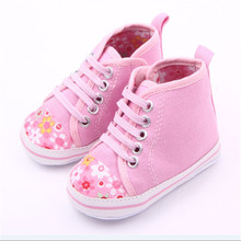 Lovely Flower Floral Infant Toddler Baby Girl Soft Sole Crib Shoes First Walker Canvas Newborn Sneakers Age 0-18 Month Discount(China)