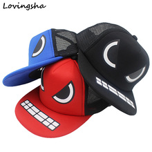LOVINGSHA Boy Baseball Caps For 3-8 Years Old KId Character Teeth And Eyes Design Snapback Caps Adjustable Cap For Girl CC033(China)
