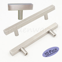 "Brushed Nickel Cabinet Pulls Goldenwarm LSJ22BSS Hole Centers 2.5""~10'' Square Drawer Knob Handles Stainless Steel 10 Pieces(China)"