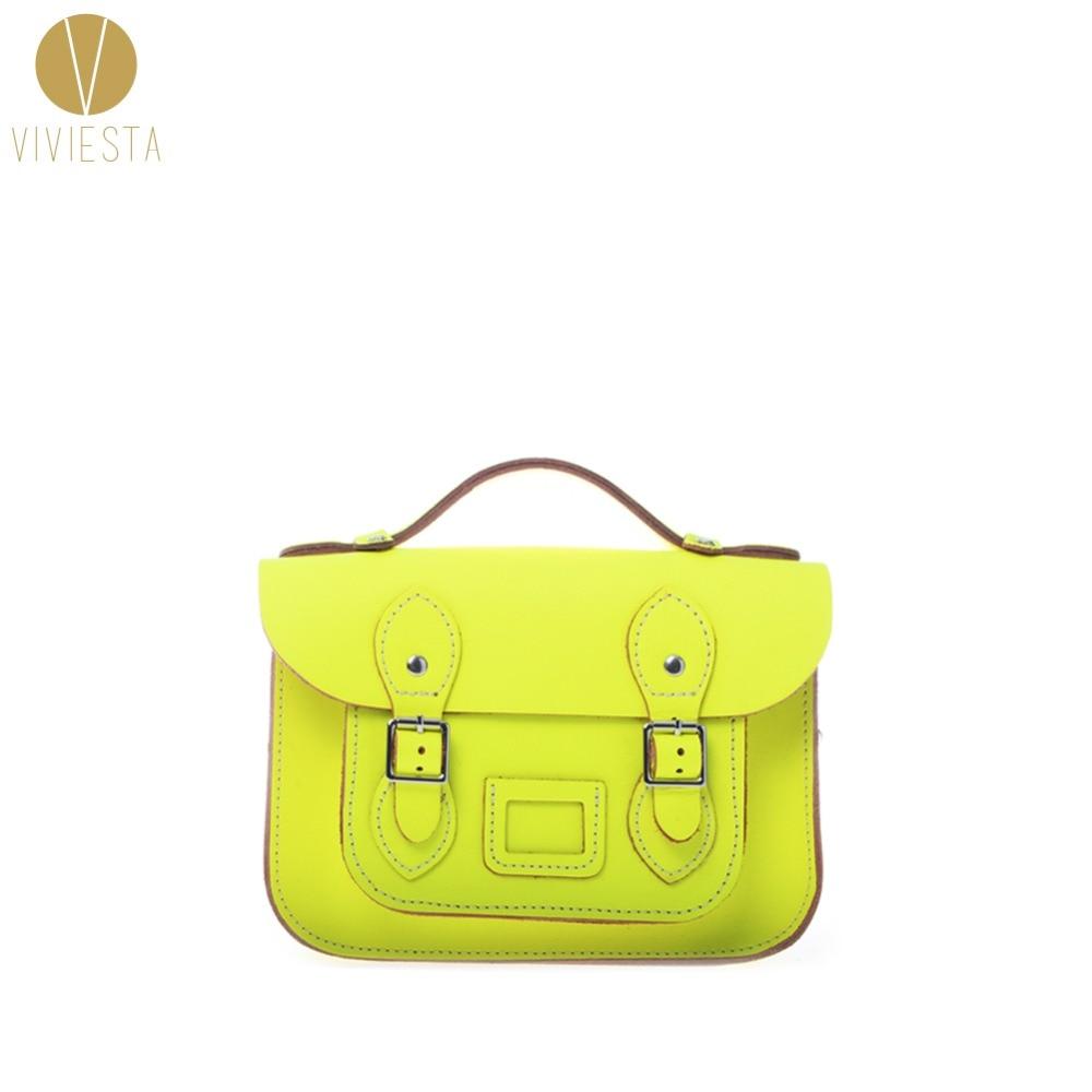 8.5 MINI NEON BRITISH GENUINE LEATHER SATCHEL BAG - Womens Vintage Cute Fluro Candy Bright Cross Body Messenger Bag Handbag<br>