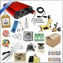 Professional tattoo kit 1 gun machines and power supply wiht  ink cup for hand  10 rubber bands and 14 colors 5ML ink