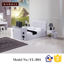 2017 Special Design Leather Double Cot Bed Models Functional Hifi Speaker With TV Bed