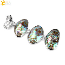 CSJA New Zealand Paua Abalone Oyster Shell Necklace Pendants 3 Oval Beads Pendulum Natural Raw for Women Jewelry Multicolor E477
