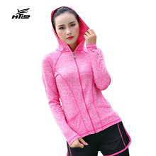 Sexy Running Jackets Women Fitness Sport Hooded Jackets Slim Zipper Jogging Tops Lady Tennis Jackets Exercise Coats for Femme