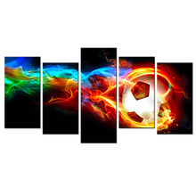 5 Piece Modern Canvas Wall Art Colorful Flame Football Picture Prints On Canvas Living Room Modern Decorations Wall Decor Art(China)