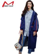 2017 Fashion Hooded Long Women Trench Coats Female Embroidery Streetwear Windbreaker Oversized sobretudo femininos casacos Y1407(China)