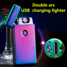 Double fire arc pulse Electronic Cigarette lighter electric arc usb charging lighters Smoking Windproof lighters 10 color