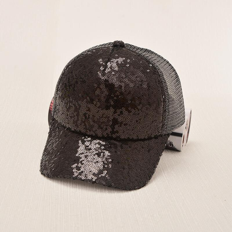 17 New Summer Black Sequins Baseball Caps For women Mesh Hat Net Cap Casquette Sparkling Leisure Sun Cap Adjustable Adult 10