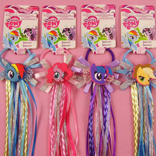 My Cute Little Ponys Cartoon Hair Rope Unicorn Ribbon Hair Tie Kids Girls Elastic Rubber Hair Accessories with Wig Decoration