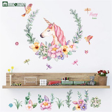 Maruoxuan Cartoon Unicorn Flower Birds Wall Stickers Bedroom Living Room Sofa Background Wallpaper Home Decor Art Mural Decals(China)