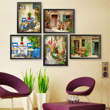 10pcs/lot Mediterranean Retro Street Restaurant Canvas Art Print Poster, Wall Pictures for Home Decoration, Wall Decor No Frame(China)