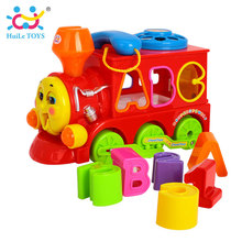 HUILE TOYS 8810 Baby Toys Bump & Go Train with Lights & Music Block Letters Shape Sorter Learning Educational Toys for Children(China)