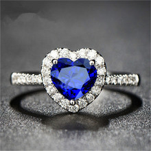 Buy Real Natural Sapphire S925 Sterling Silver Fine Jewelry Heart Rings Women Wedding Engagement Ring Accessories Bijoux Bague for $7.99 in AliExpress store