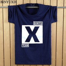 BINYUXD Man's 3D Cotton Funny Big Letter X O-Neck 2017 Summer Style Slim Men's T-Shirts Brand Clothing Plus Size 5XL(China)
