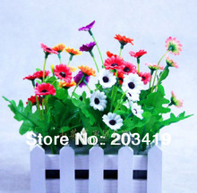 1set Artificial daisy bouquets+fence vase slik flowers plants for Wedding Party Home Decoration gift craft     wholesale retail