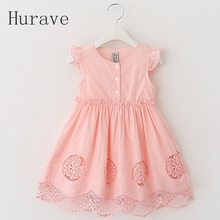 Hurave Children Vestido Infantil 2017 Fashion Dress Lace Girls Princess Dress Summer Girl Dresses Kids Party Dress Girls Clothes
