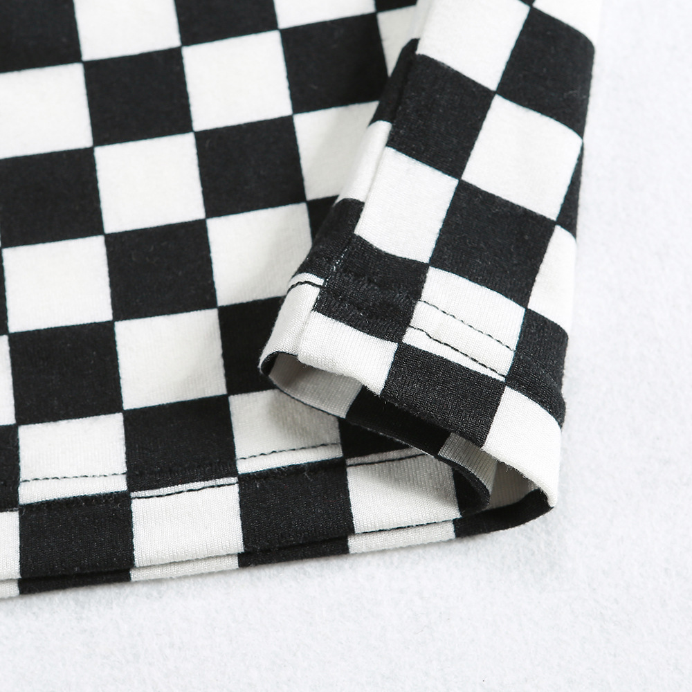 LOSSKY 2018 Hot New Sexy T-shirts Women Black White Plaid Checkerboard Slim Corp Top Female T-shirt Long Sleeve T Shirts Top 18