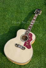 Chinese wood guitar factory + high-quality wood color 200 acoustic guitar +Custom LOGO+ free shipping(China)