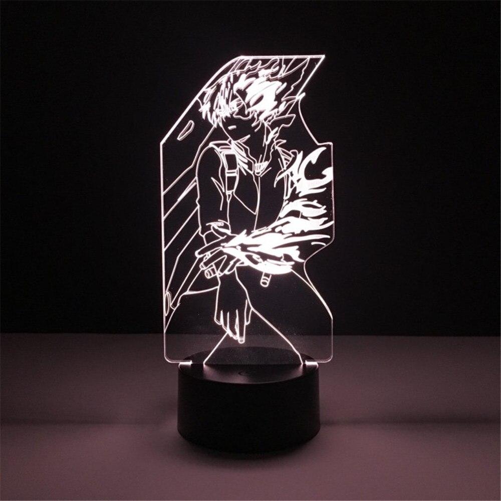 My Hero Academia Todoroki Shoto Toys 3D LED Decoration Table Lamp Night Lights Action Figure Lampara Lighting Gift For Children