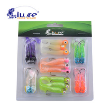 iLure Fish Bait Kit Fishing Lure Sinking Lures Swim Jigs 17 Curl Tail Soft Lure 17 Jig Head Hooks Bass Salmon Trout Pike Crappie