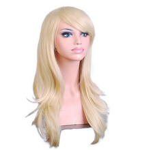 QQXCAIW Long Curly Cosplay Costume Blonde Wig For Women High Temperature Synthetic Hair Wigs(China)