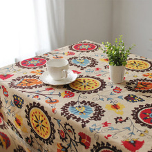 Southeast style home cotton and linen tablecloths coffee table cloth cover towel sunflowers linen table cloth(China)