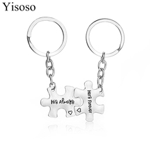 "Yisoso 2PC/Set Letters Carved "" His Always and Hers Forever "" Heart Couple Keychain Puzzle Geometric Keychains Key Chain Holder(China)"