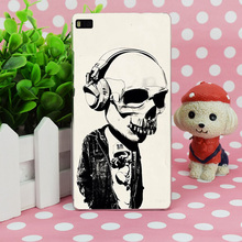 B1085 Earphone Skull Transparent Hard Thin Case Skin Cover For Huawei P 6 7 8 9 Lite Plus Honor 6 7 4C 4X G7