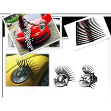2Pcs/pair New Cute Car Styling Stickers Black Eyelashes Vehicle Headlight Decorative Sticker On Car