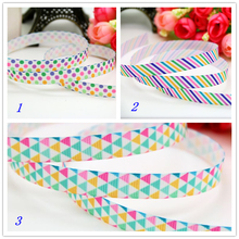3/8'' Free shipping Stripe dot plaid printed grosgrain ribbon hairbow headwear party decoration diy wholesale OEM 9mm P5996