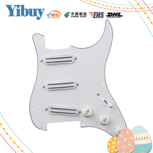 Yibuy White Loaded Prewired Pickguard with SSS B500K / A500K Tone Dual Rail Pickups
