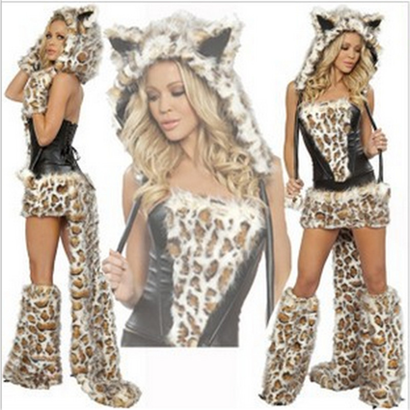 2018 New Sexy Leopard Plush models cat girl Halloween Costume women Dress Cosplay uniform Club wear Party Animal Womens Costumes