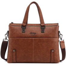 Mens Genuine Leather Satchels Shoulder Bag Crossbody Bag Fashion Business OL Messenger Bag Male iPad Briefcase Jeep Bag(China)