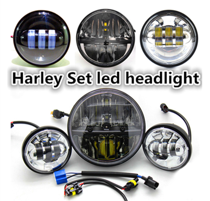 7 Black Chrome LED Projector Daymaker Driving Headlight + 4.5 inch Passing Lights fog Auto light For Harley Touring Motorcycle<br><br>Aliexpress