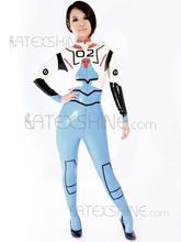 Multi Color Geometric Figure Print Unisex Unique Latex Catsuits(China)