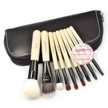 New 9 Pcs Make up Brushes Tools Makeup Brushes Set With Zipper Leather Bag Free Shipping