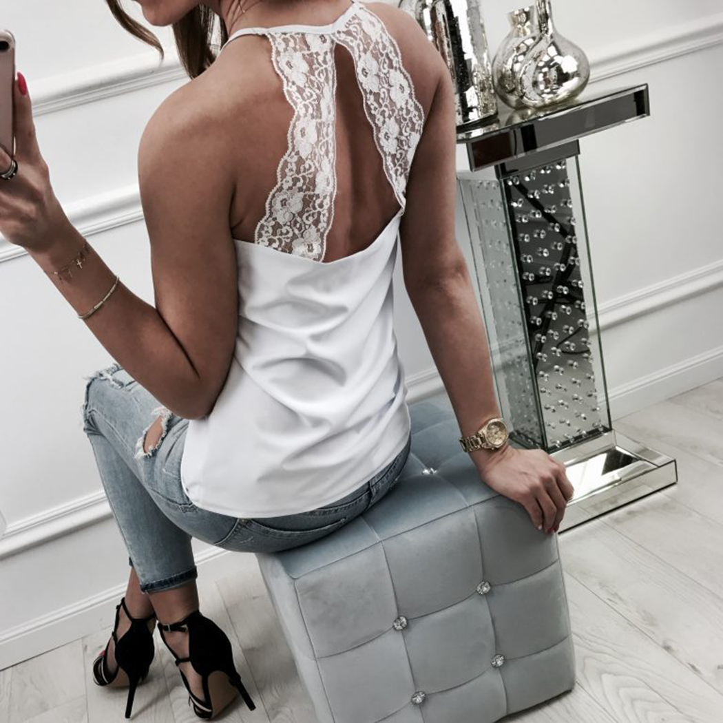 Sexy Backless Lace Tank Top Women Halter Sleeveless Slim Fit Camis Vest 2018 Summer Casual White Black Ladies Fitness Tops Tee
