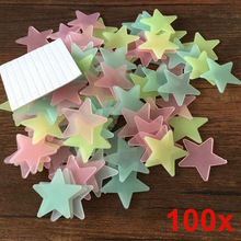 100pcs/lot Glow Wall Stickers Decal Baby Kids Bedroom Home Decor Color Stars Luminous Fluorescent 4colors(China)