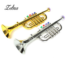New Arrival Gold Silver Developmental Plastic  Children Toys Gift Musical Instrument Trumpet 37x10cm For Boys Girls