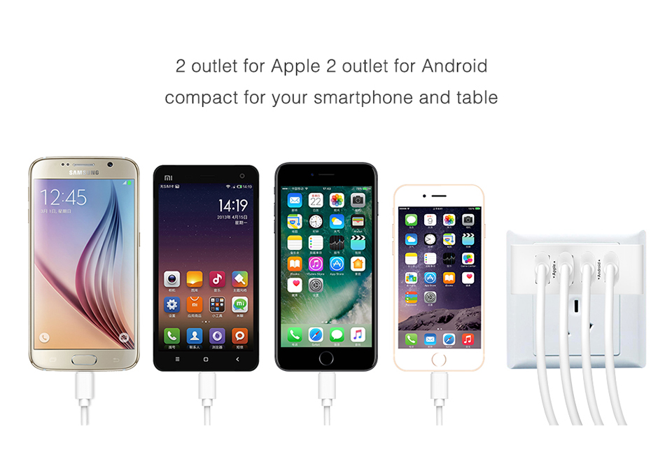 FLOVEME 4 Ports Charger for iPhone 7 7 Plus Portable Travel Phone Charger for iPhone 6 6S Plus 5S Stable Charger Accessories