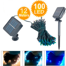 10PCS Solar string 12M 100 LED Powered garland fairy Camping christmas decoration waterproof Outdoor garden solar led light lamp(China)