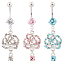 Body piercing rose flower belly button rings Wholesale navel rings 14G Surgical Steel bar Piercing nickel free Fashion Jewelry