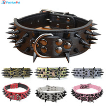 "High Quality 2"" Width PU Leather Big Dog Collar with Black Sharp Spikes Studded for Large Dog Pitbull Mastiff(China)"