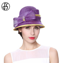 FS Women Sun Bowler Hat Summer Casual Beach Linen Hats For Vacation 2017 Anti UV Purple Elegant Bowknot Female Caps